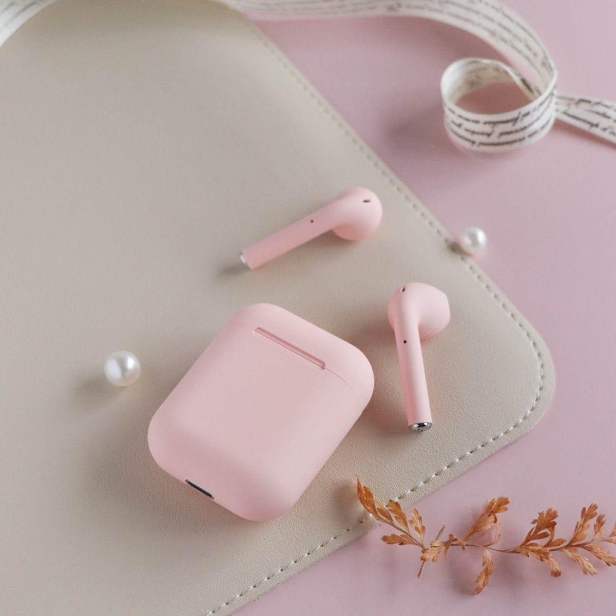 Airpods I12tws Pink Pink Headphones Makeup Kit For Kids Pink Apple
