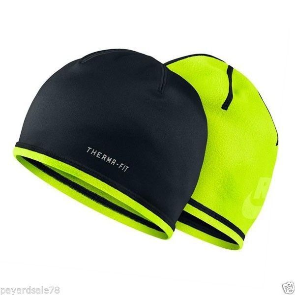 RUNNING NIKE BEANIE HAT REFLECTIVE DRI-FIT DRI-FIT BLACK NEON VOLT COLD  WEATHER 5006d3a2655