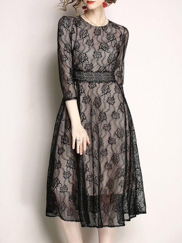 Black Midi Dress A Line Going Out Dress 3 4 Sleeve Elegant Lace Guipure Lace Prom Dresses Cheap Dresses Casual Elegant Casual Dress Midi Dress Party