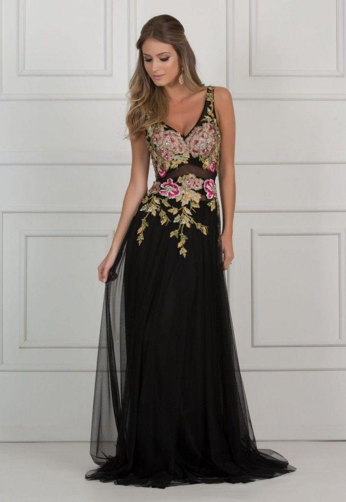 ff8857c45 vestido de festa preto com aplicação de bordado floral | DRESS | Broderie  Perlée e Broderie