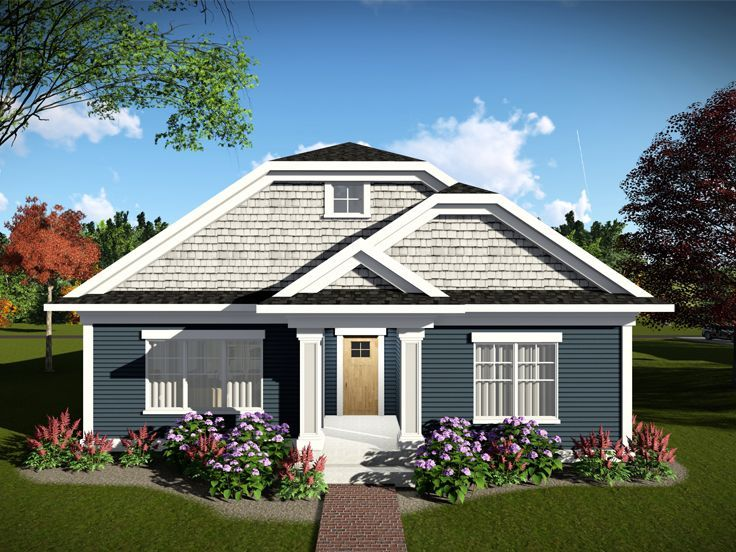 020H-0464 Narrow Lot Craftsman House Plan with Rear-Entry Garage