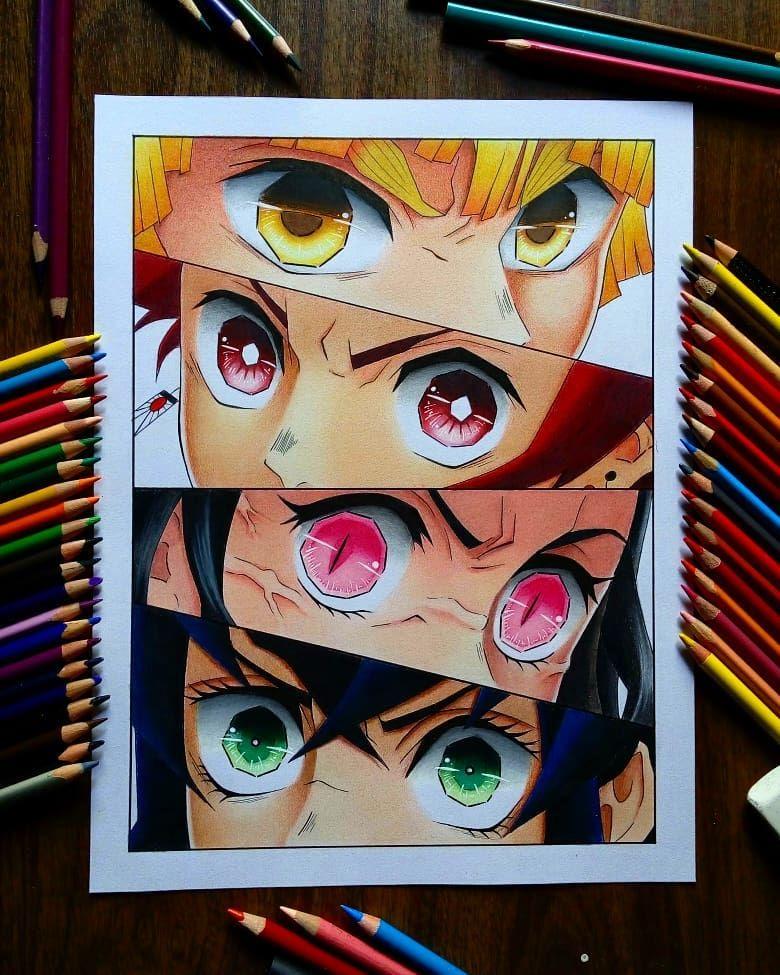 Tanjiro, Nezuko, Inosuke & Zenitsu Anime drawing styles