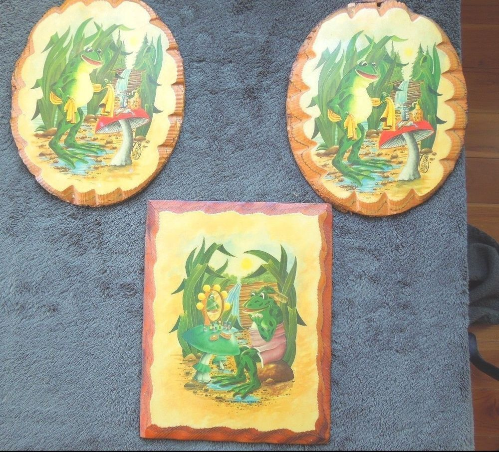 Frog Bathroom Wall Plaques Decor Vintage 1987 Decoupage Tree Wood ...