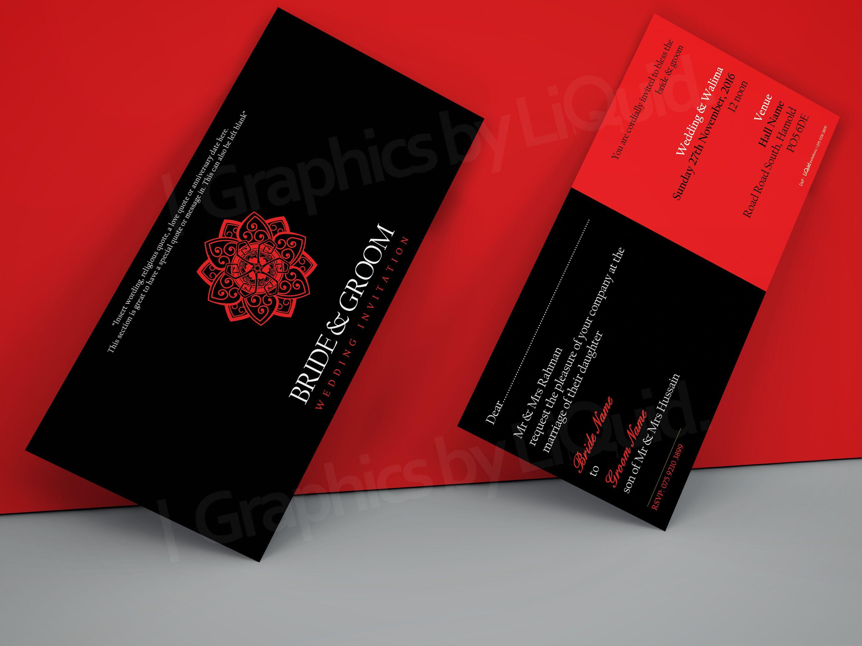 Red & Black DL Wedding Invitation Card QDL45   Wedding Invitation ...