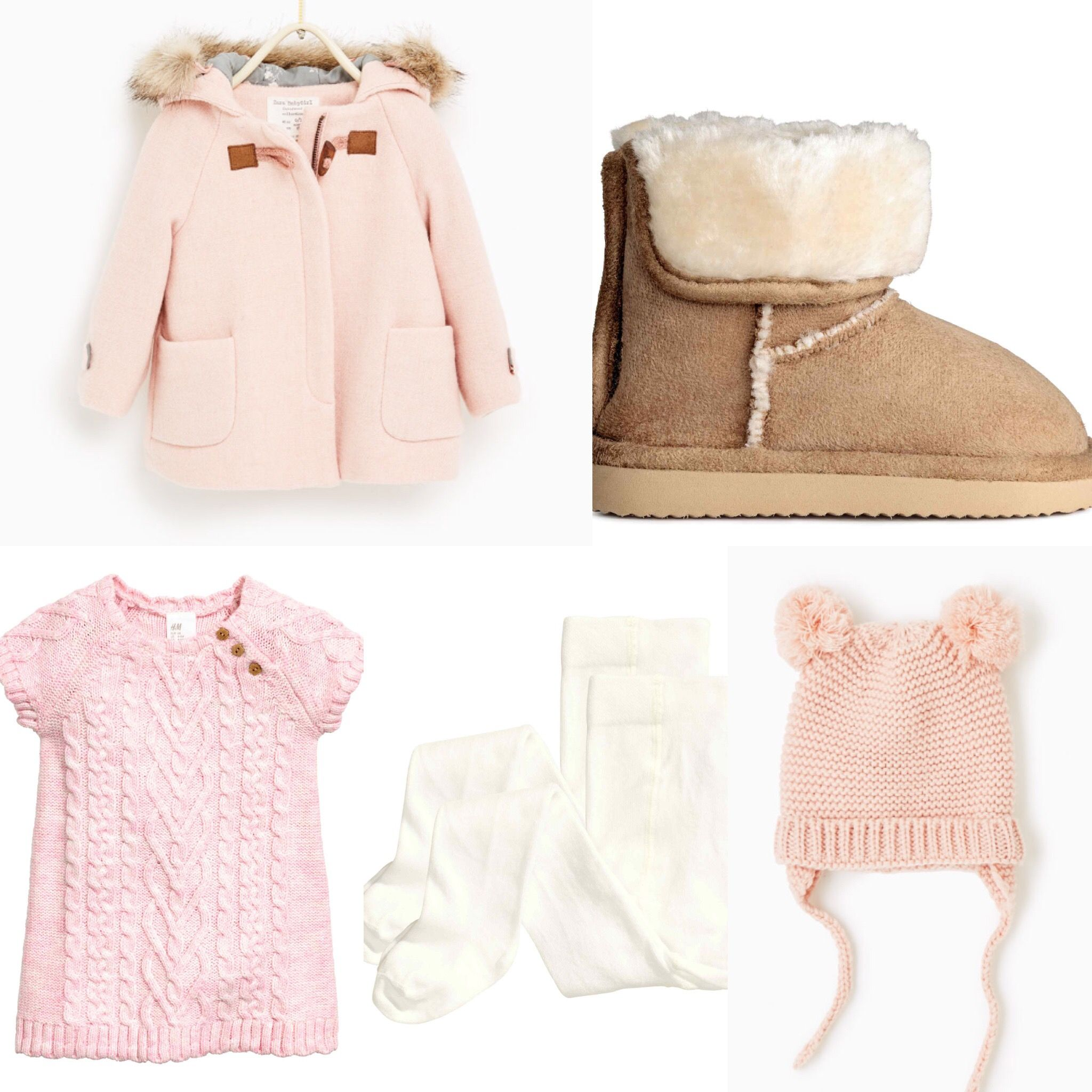 38e42eb0554e HM, Zara 2016 fall collection baby girl outfit idea. HM knitted dress, ugg  boots, tights, Zara pink coat, pink hat.