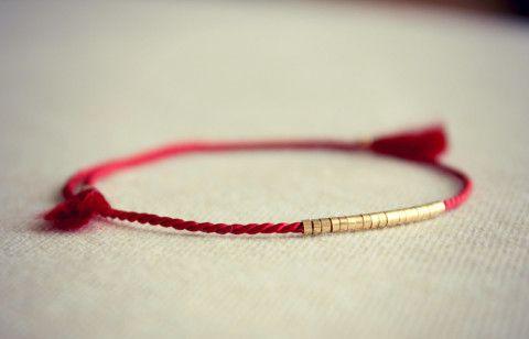 Lucia Silk Friendship Bracelet / Silk Thread Bracelet / Deep Red Silk with Thin Row of Small Gold Beads