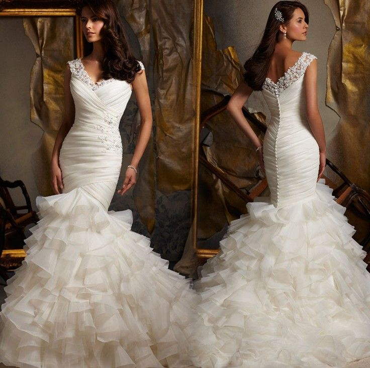 Free shipping 2014 new European and American Hot Spring upscale luxury white lace wedding dress Korean Bra trailing $294.99