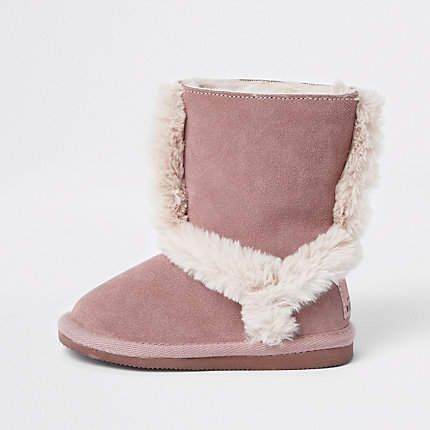 2f9a6236b Mini girls pink suede fur lined ankle boots