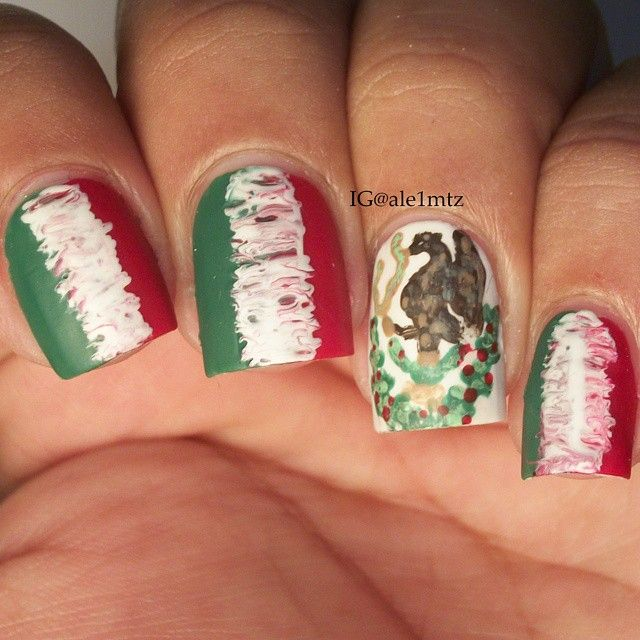 Inspired By The Mexican Flag Nails