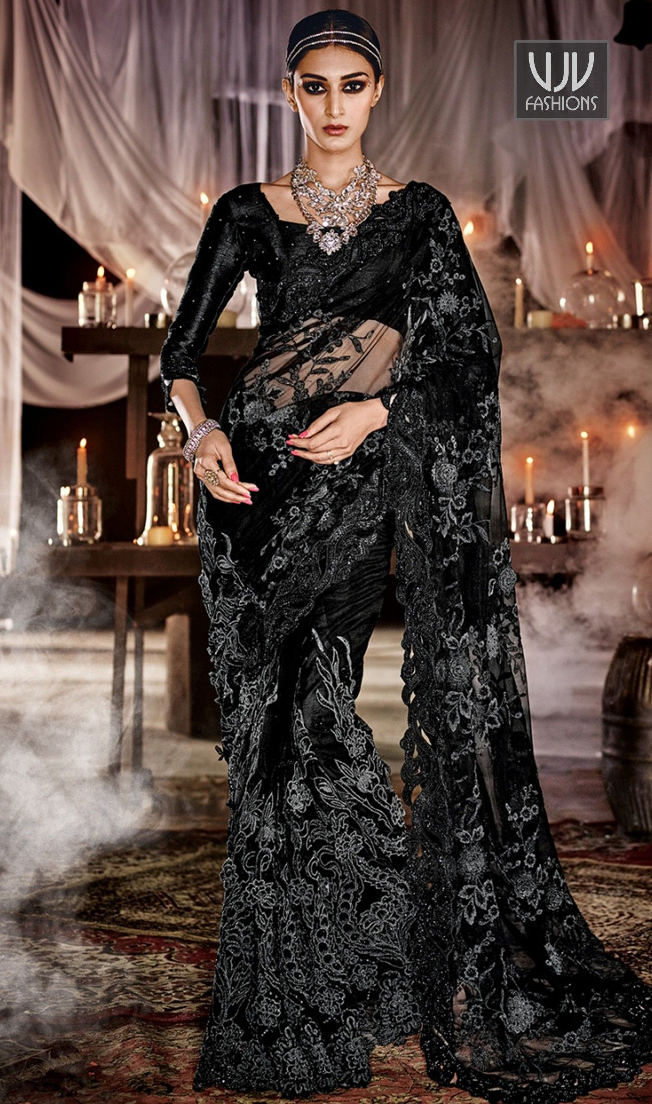 869769c87b Aesthetic Black Color Net Patch Border Work Designer Saree Ravishing attire  to enhance your beauty. Make an adorable statement in this smashy black net  ...