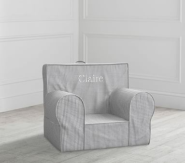 Astounding My First Gray Gingham Anywhere Chair Slipcover Only Andrewgaddart Wooden Chair Designs For Living Room Andrewgaddartcom