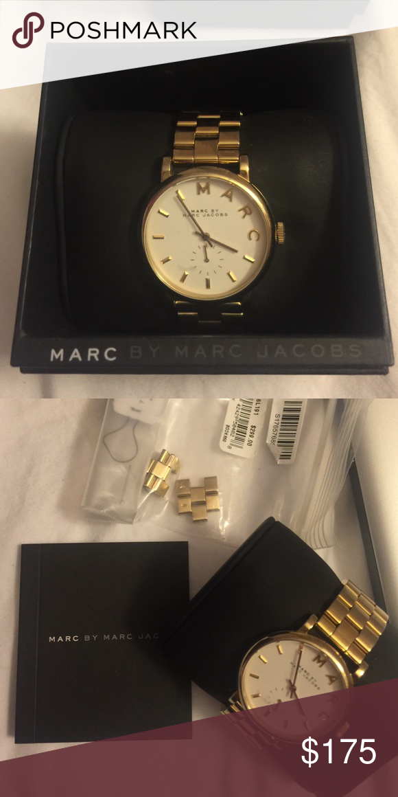 Marc Jacobs watch, great condition Gold band, white face, worn a couple times. Marc by Marc Jacobs Accessories Watches