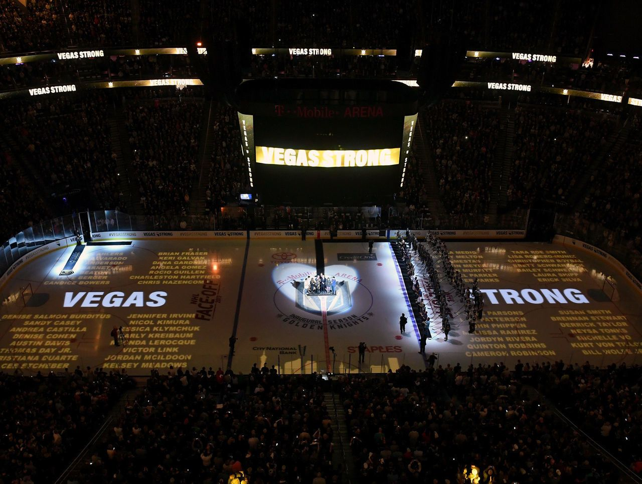 Victims Names Of 1 October On Ice At Rememberance Ceremony Before Home Opener Vegas Golden Knights Golden Knights Hockey Golden Knights