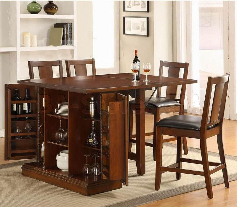 Kitchen Island Counter Height Set with Chairs Table and 4 Chairs