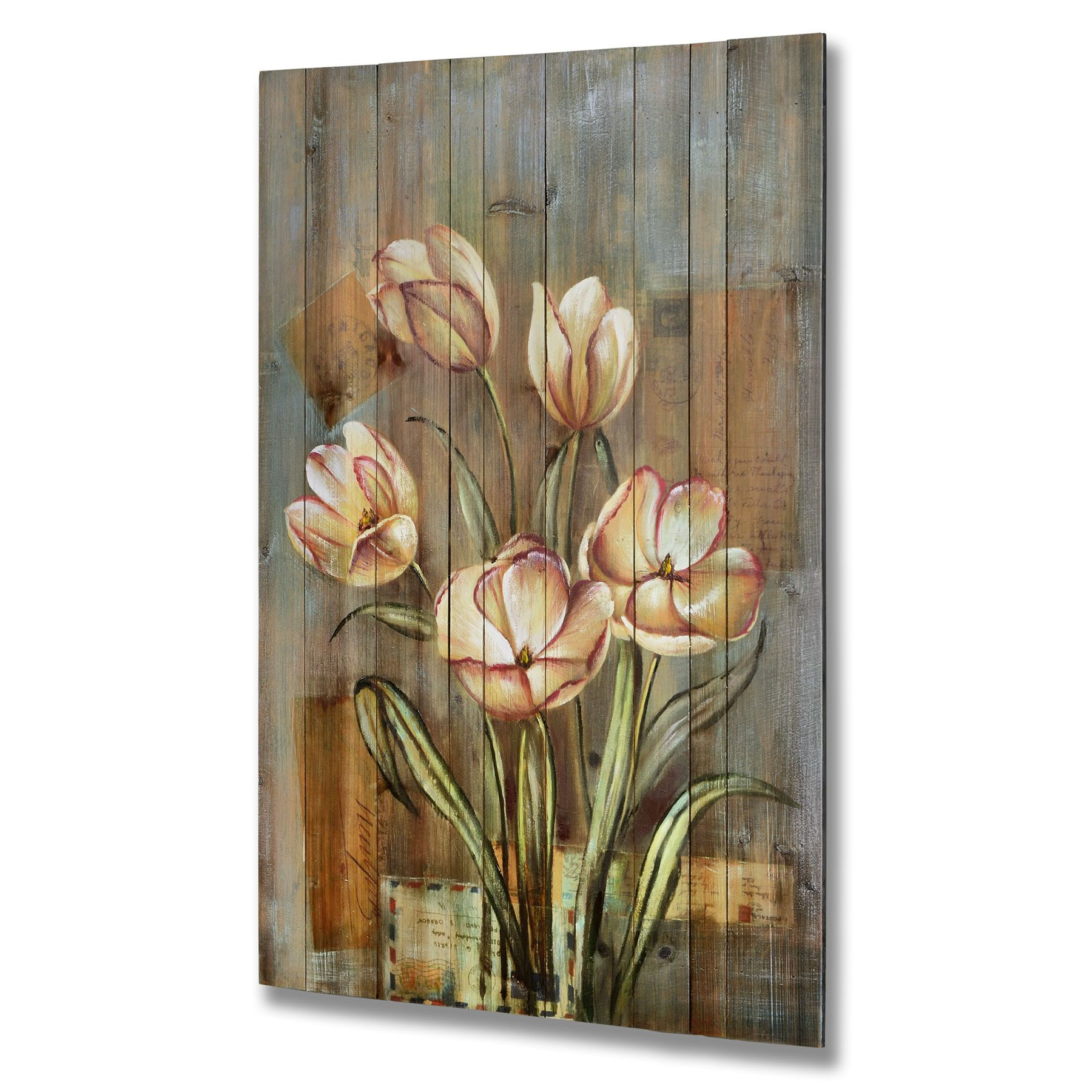 Art Painted On Wood Paintings On Wood Plank Handpainted Flower Painting On