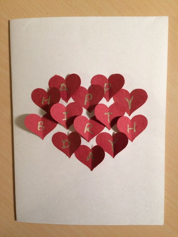 Red Heart Collage Handmade 3d Postcard Card Romantic Gift For