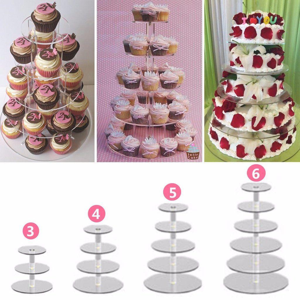 5-7Tier Round Tower Cake Stand Macaron Display Rack Wedding Birthday Party Plate