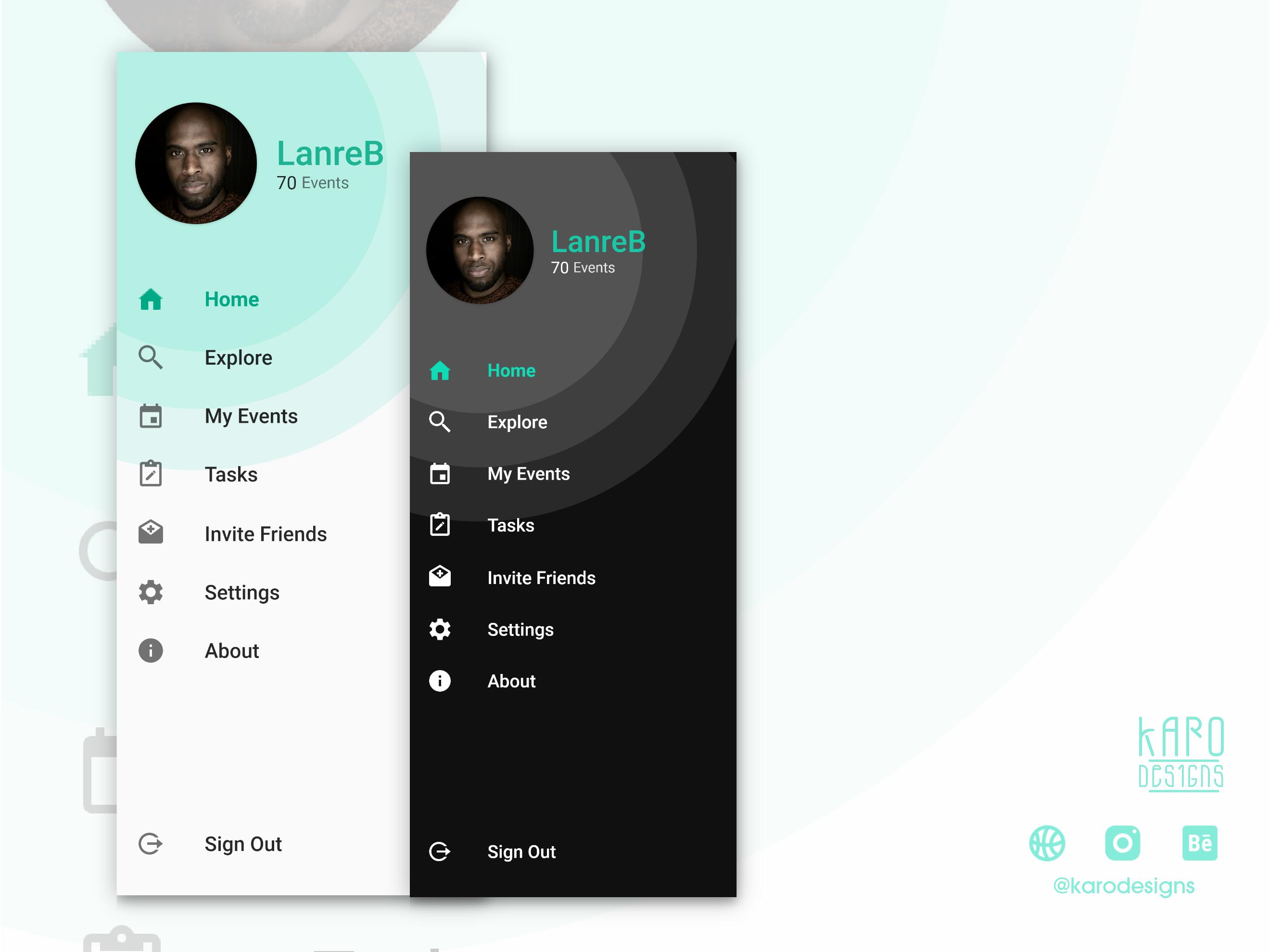 Side Drawer Navigation Android Design Android App Design Mobile App Design