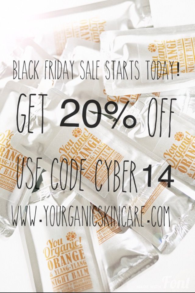 YouOrganic Skincare Black Friday/Cyber Monday SALE Starts Today! Use the code CYBER14 at the checkout at www.youorganicskincare.com