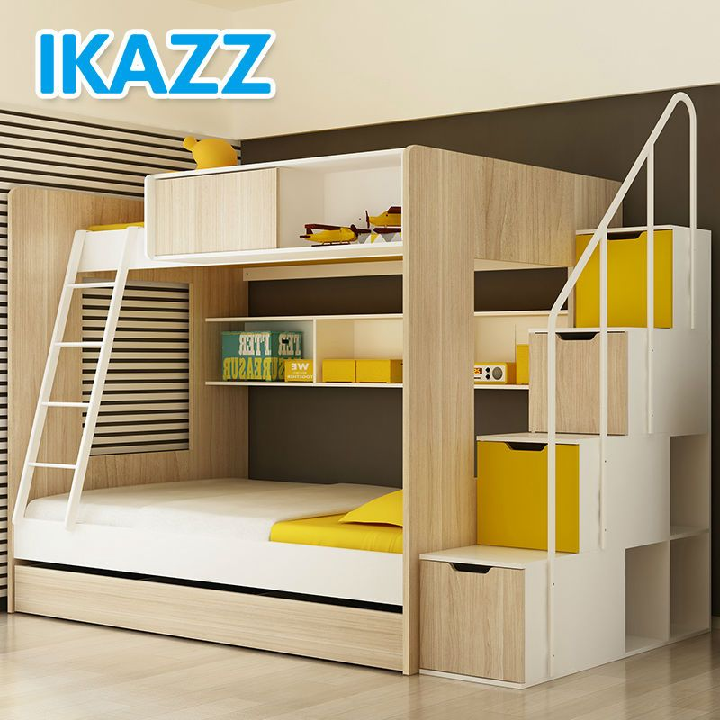 Kids modern bunkbed comes in yellow green blue trundle for Modern kids bunk beds