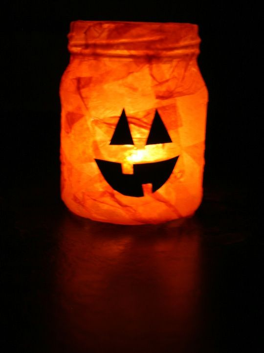 Easy jack o lantern candle jar the tissue paper on