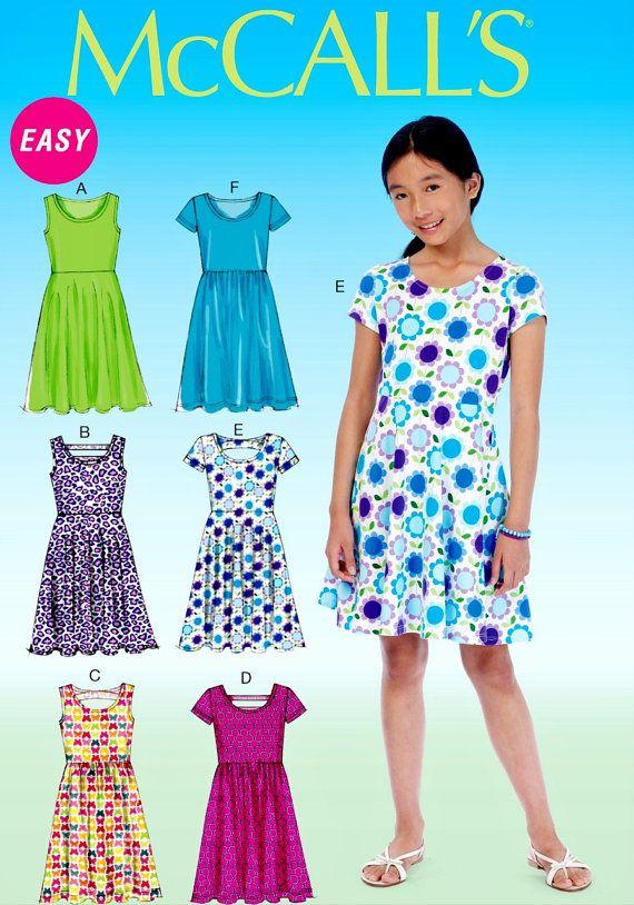 Jersey vestido patrón patrón de Tween niñas vestido de punto ...