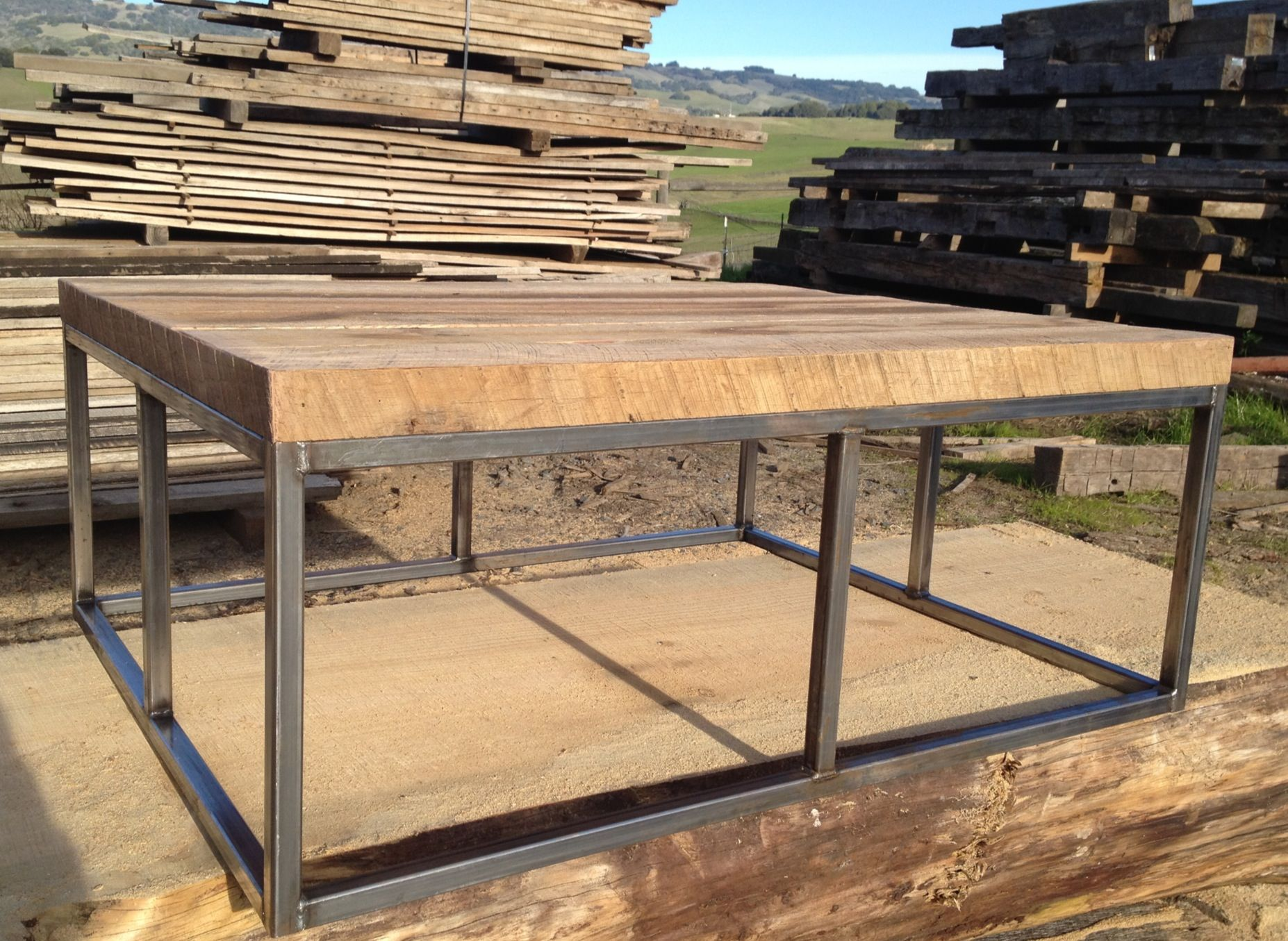 Antique Oak Coffee Table With Black Iron Base