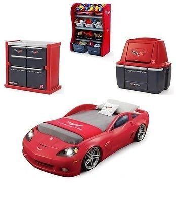 Corvette Bedroom Set Bed Race Car Twin Dresser Storage Chest Room