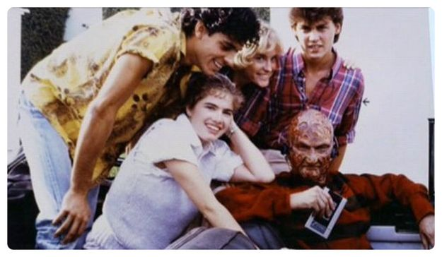 """Freddy chillin' with his walkman on the set of """"Nightmare On Elm Street"""" 