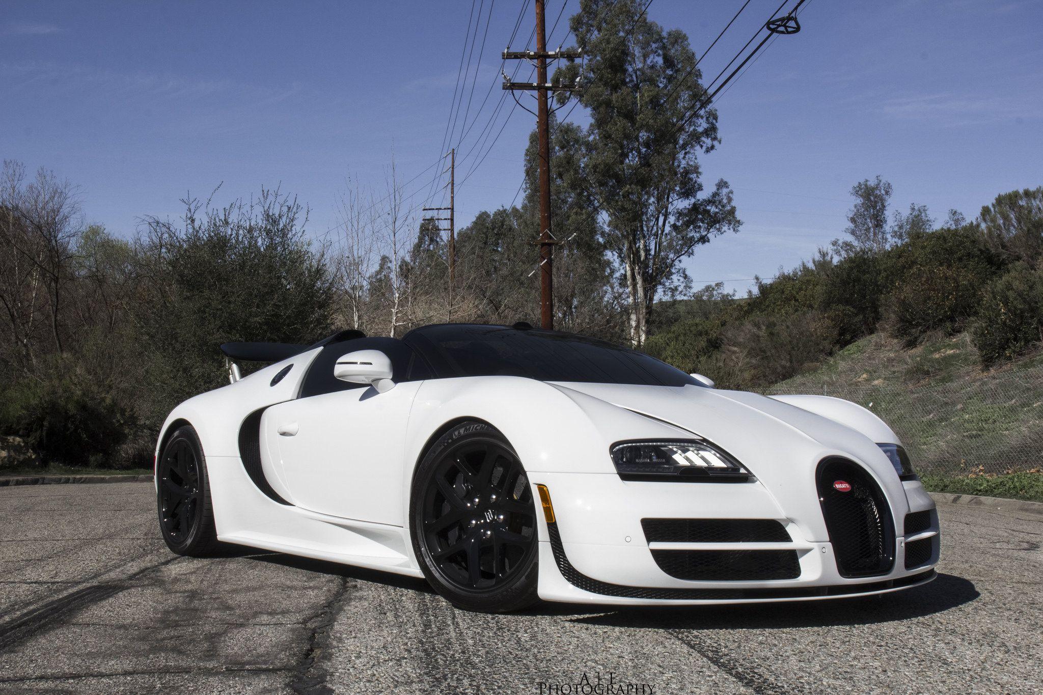 Beautiful White Bugatti Veyron Vitesse Front Side View