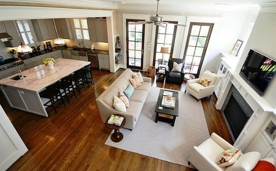 Open Concept Floor Plan With Large Rectangular Kitchen Counter Open Concept Kitchen Living Room Living Room Furniture Layout Open Kitchen And Living Room
