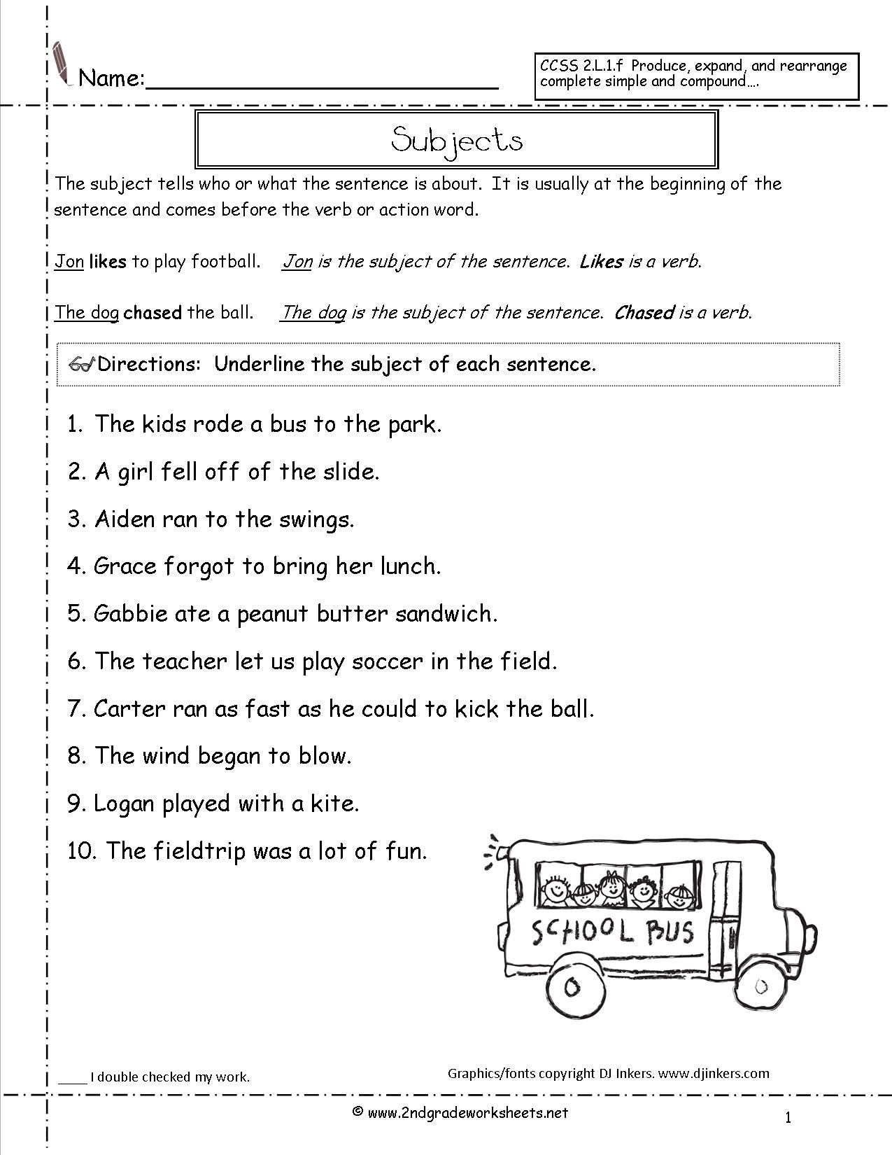 Subjects Worksheet