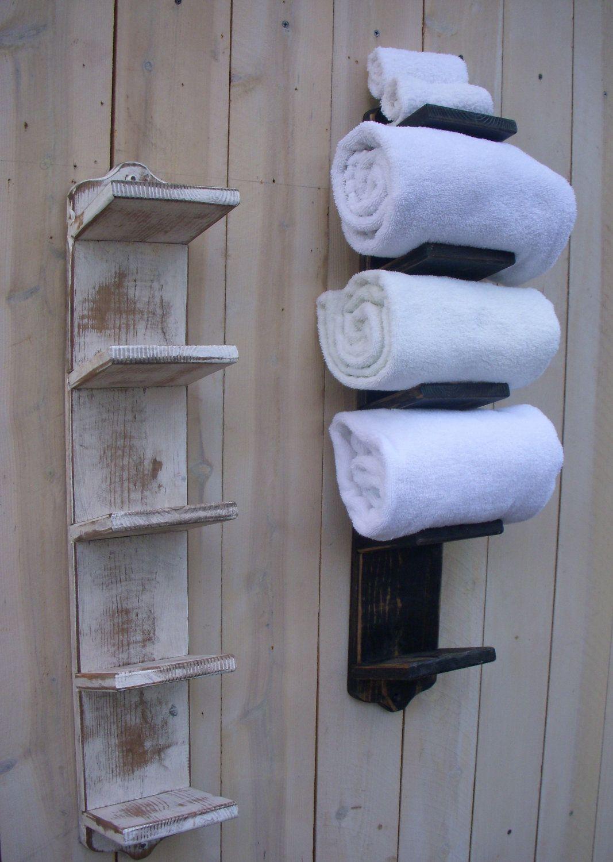 Wood Towel Rack Handmade Wall Mount Bath Storage Decor Bathroom