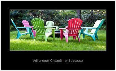 fire pit with multi-colored Adirondack chairs | Adirondack ...