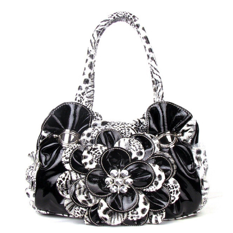 Handbags, Bling & More! Black Leopard Flower Rhinestone Fashion Handbag : Fashion Purses