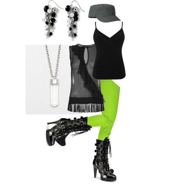 Black & Green, created by randomlylogical on Polyvore