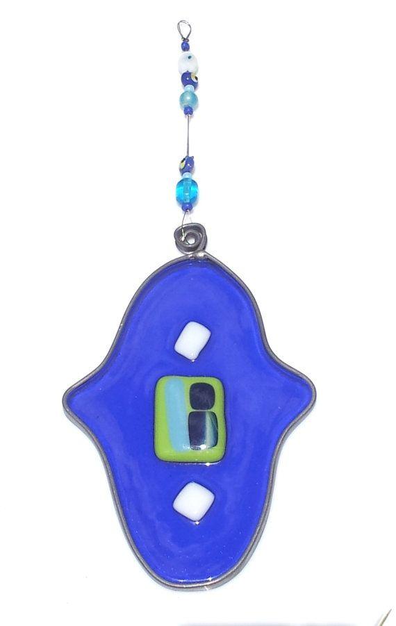 Free Shipping Hamsa Fusing Glass Blue Home Decor by Silvinadesigns