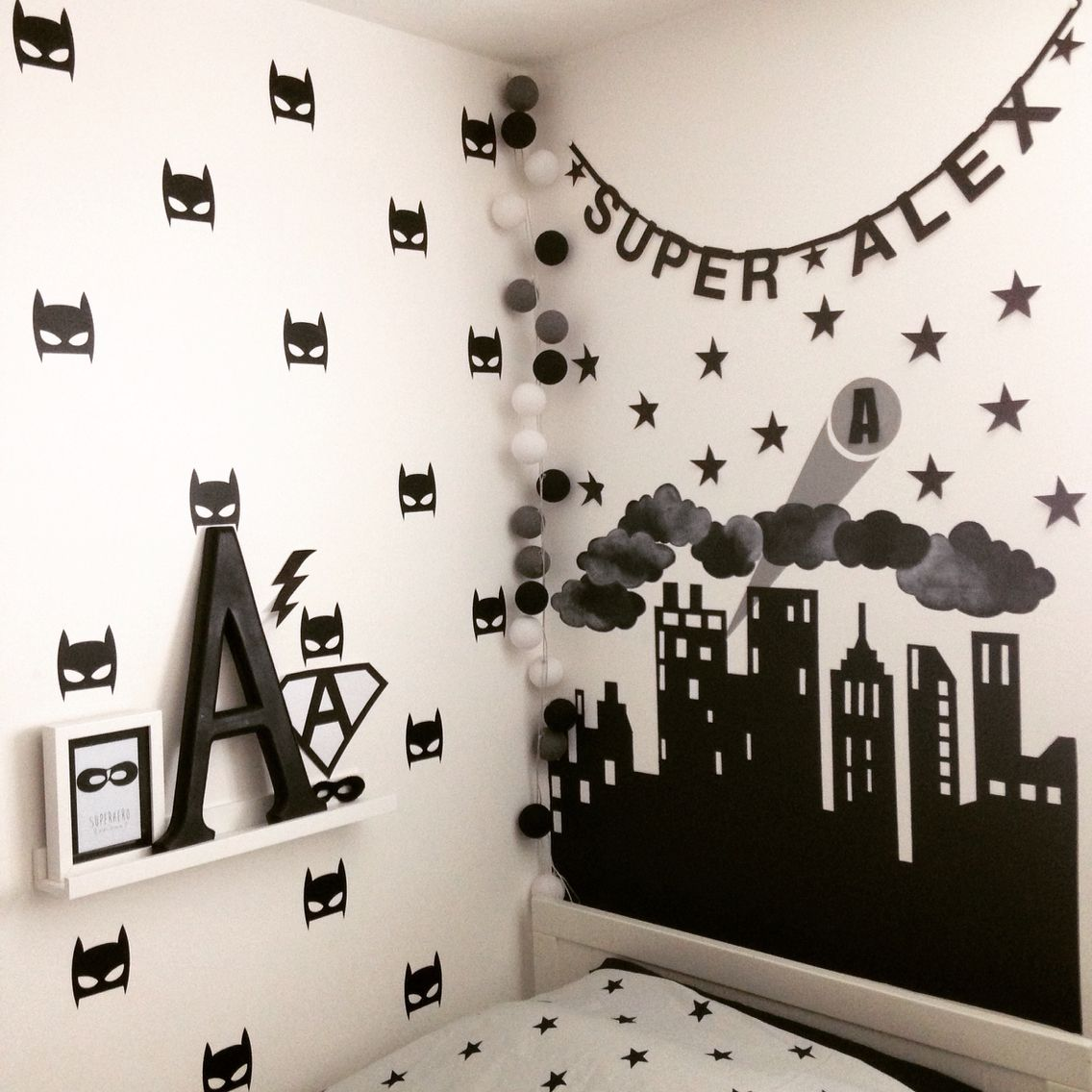 Superhero Monochrome Bedroom