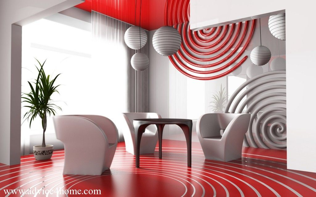 red-white wall design and dining table design in dining room