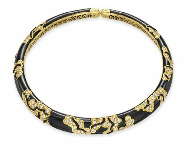 Diamond and Blackened Gold Necklace, Marina B