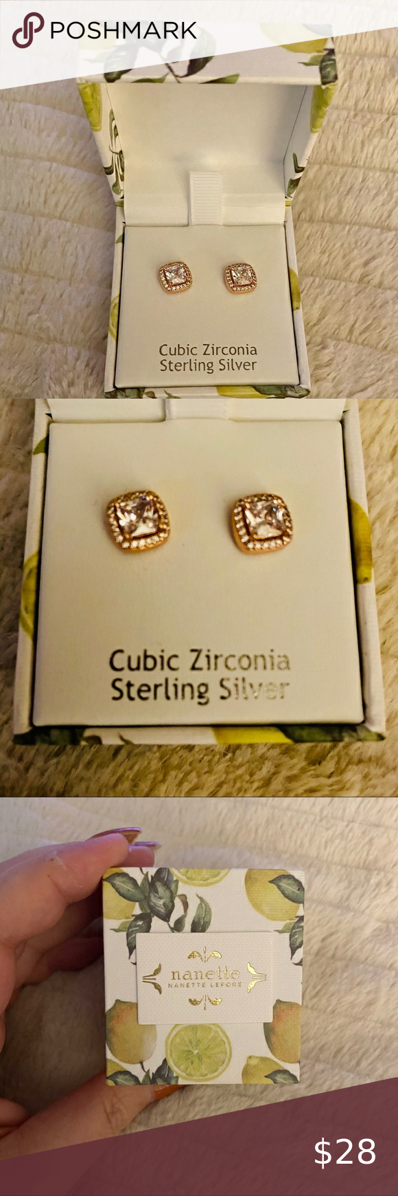 NANETTE LEPORE Cubic Zirconia stud earrings. NEW N