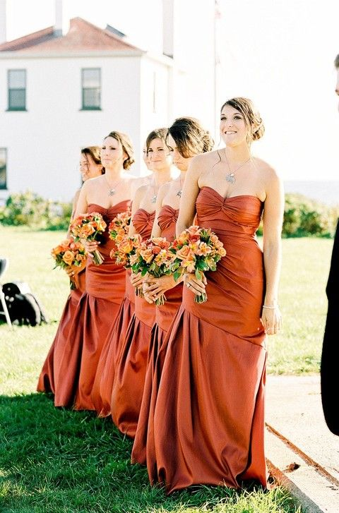 59018ac4a5 42 Stunning Fall Bridesmaids' Dresses | Orange Weddings | Fall ...