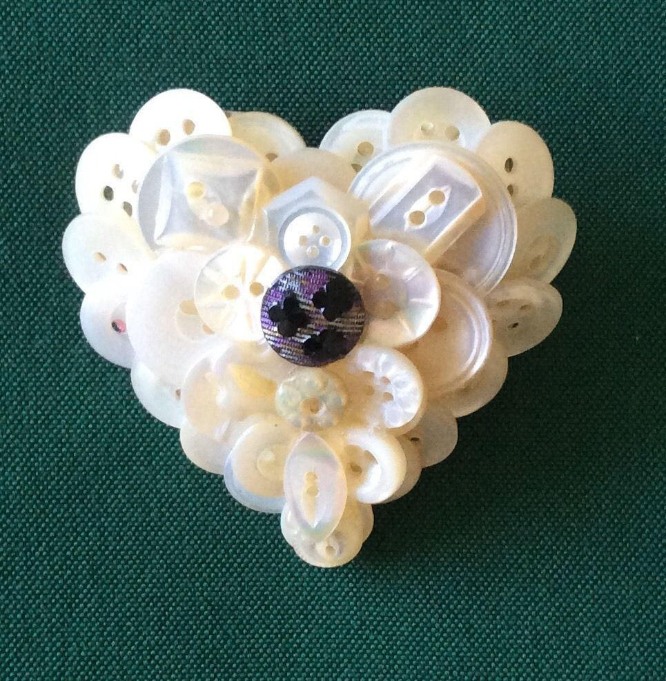 Vintage Button Collage Pin Brooch Hand Crafted Valentines