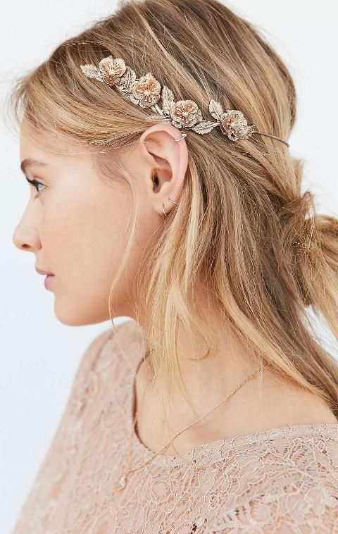 Golden Flower Halo Headband. Ethereally pretty metal halo that rests around head with pretty antique finish etched flower accents for an impossibly dreamy look we're in love with. #UrbanOutfitters #Golden #Tiaras #UrbanOutfitters #Women #fashion #obsessory #diyhairstyles #hair #accessories #fashion #lifestyle #style #myobsession