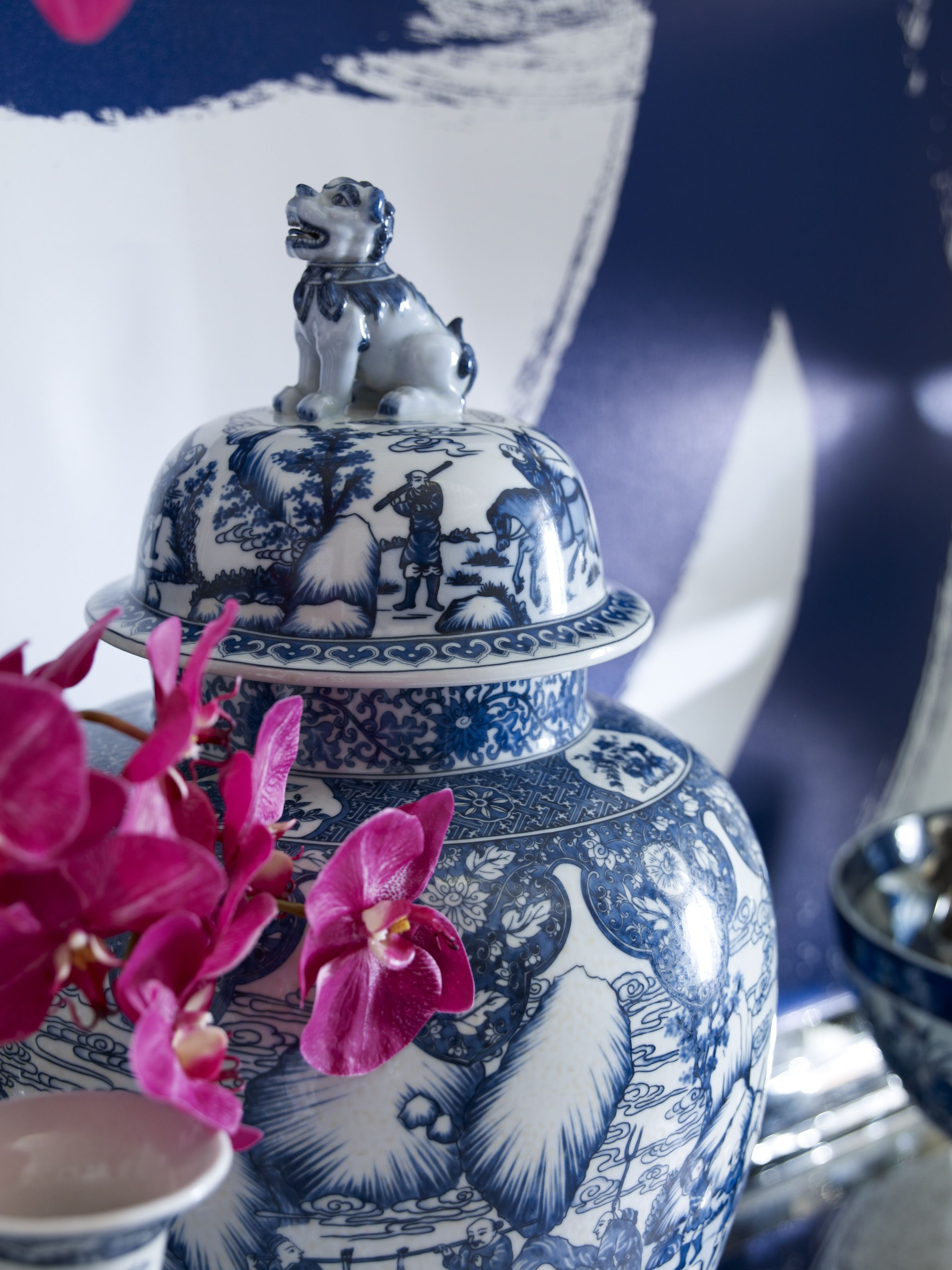 Giant Foo Dog Temple Jars now at ethan allen - also in versatile black and white