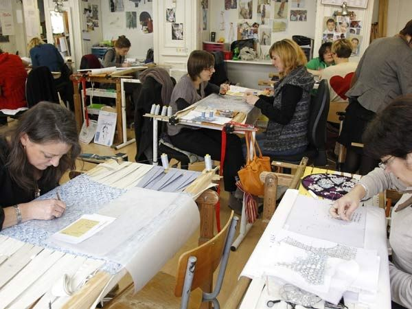 Embroiderers at the Montex workshop.