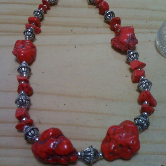 Pink howlite necklace.