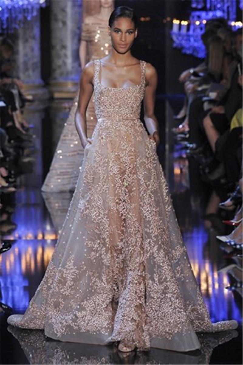 9dd997724bb 2015 New Noble Elie Saab Evening Dresses Spaghetti Backless Sheer Lace  Applique Crystals Sequins Floor Length Celebrity Prom Party Dress Pictures  Of Evening ...