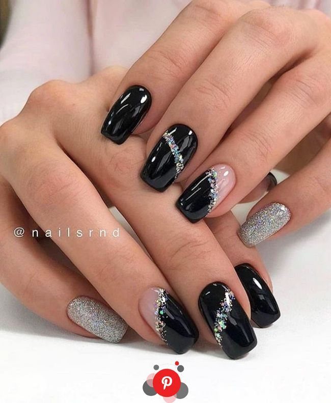 Glittery Striped Black Nail Art Idea in 2020 | Square nail designs, Winter nail designs, Colorful nail designs