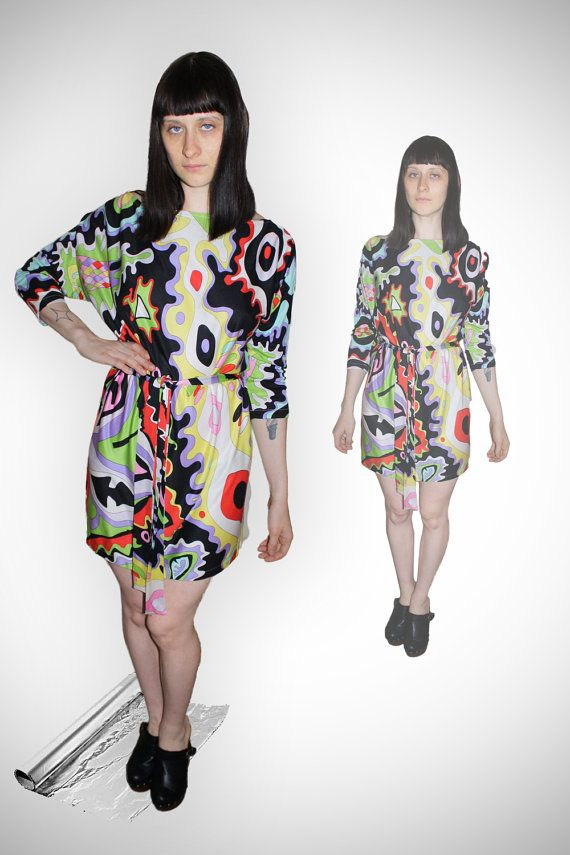vintage 90s women's trippy psychedelic colorful print by 33vintage, $68.00